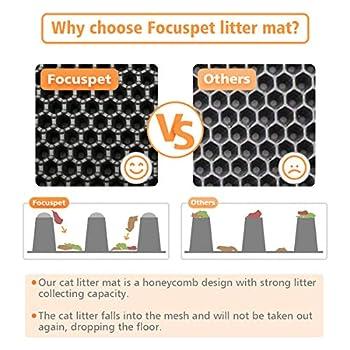 Focuspet Tapis Litière Chat, Tapis de litière pour Chat Tapis pour Bac à Litière EVA Tapis de Choix Double Couche en Nid d'abeille Design avec 1 Jouet Chat à Plume Tapis Noir (60 X 45cm).