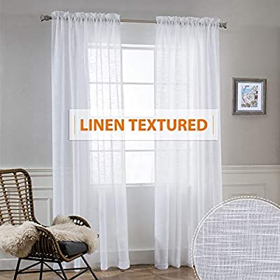 RYB HOME Linen Curtains Semi Sheer Drapes Light and Airy Privacy Solid Curtains for Living Room Bedroom Patio Sliding Door Window Treatment Panels, White, W 52 x L 95 inch, Set of 2