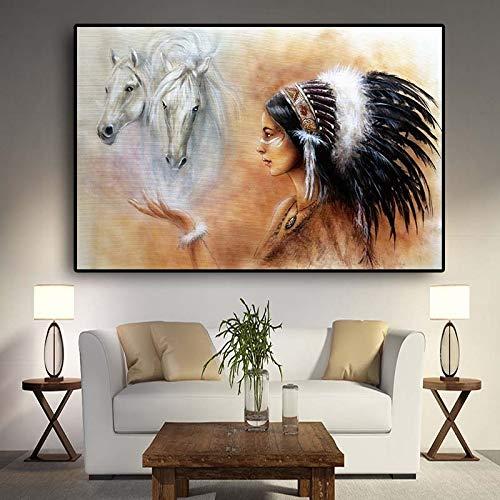 hetingyue Indische indische Feder Frau Pferd Leinwand Poster und Drucke skandinavische Wandkunst Wandbild rahmenlose Malerei 30X45CM