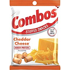 Contains twelve (12) 6.3 ounce bags of COMBOS Cheddar Cheese Pretzel Baked Snacks Made with Real Cheese A satisfying and delicious on the go snack Each individual serving contains 130 calories The world is full of combinations, like pretzels, cracker...