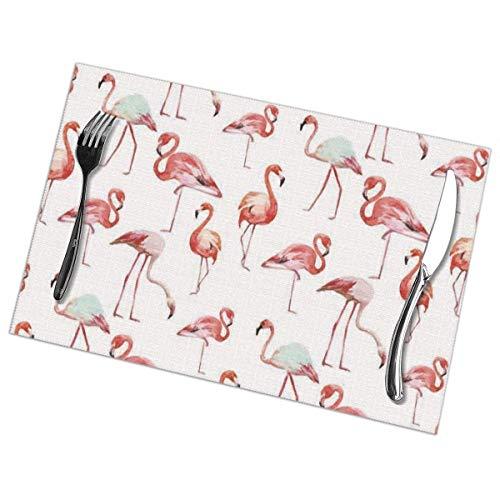 Asa Dutt528251 Pink Flamingo Placemats Plate Mats Tapetes de Mesa 30X45CM para Mesa de Comedor Juego de 6