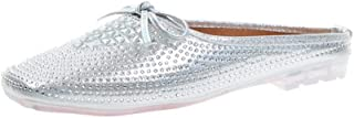 Cosplay-X Mules for Women,Womens Slip On Mule Flats Rhinestone Backless Loafers Slippers Shoes