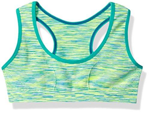 Maidenform Girl Girls' Big Seamless Racerback Sports Bra, Green Space Dye, S