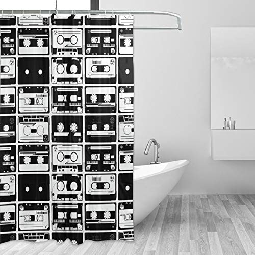 """LUCASE LEMON ALEX Black and White Cassette Tape Shower Curtain Set for Home Decor Polyester Waterproof Fabric Bathroom Accessories with 12 Hooks, 60""""(W) x 72""""(H) Inch"""