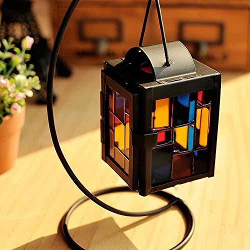 Retro Ferro Candela Lanterna Singolo Gancio In Vetro Macinato Portacandele Lampada A Sospensione Vento Luce per la Decorazione Domestica