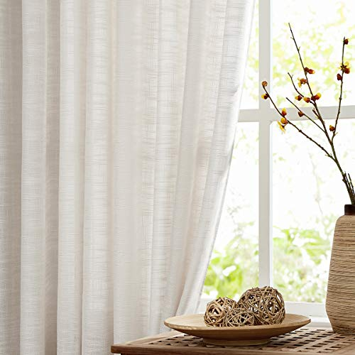 """Fmfunctex Sheer Linen Curtains for Bedroom 96 inches Long Natural Beige Privacy Farmhouse Window Treatment Set for Living Room Guest Room 52""""w 1 Pair Rod Pocket"""