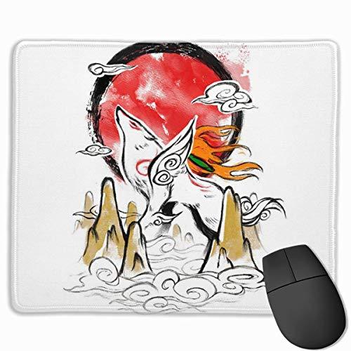 NotApplicable Alfombrillagamingcon Okami Rising Sun Dormitory Base De Goma Laptop Empresa Dibujos Animados Teclado Alfombrilla De Ratón Escritorio Alfombrilla De Ratón para Estudiantes 25X30Cm
