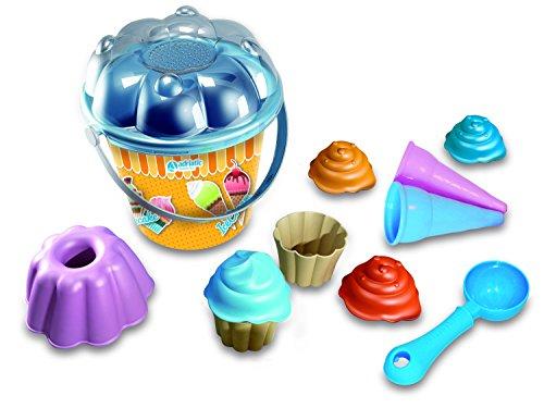Adria emmer voor strandspeelgoed, 18 cm, set met 2 cupcakes, 1 puddingvorm, 1 schep, 2 ijskegels