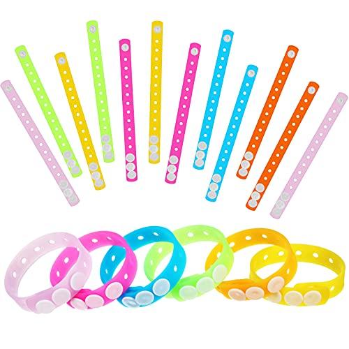 12 Pezzi 8 Pollici Braccialetti Luminosi in Silicone per Ciondoli di Scarpe Bracciale Regolabile in Silicone Luminoso con Foro Decorazione Braccialetti in Silicone Colorati, 6 Colori