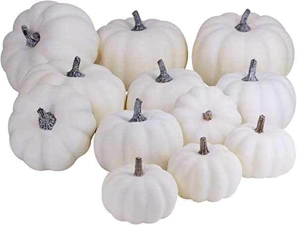 Besttoyhome 12 PCS Assorted Sizes Rustic Harvest White Artificial Pumpkins For Halloween Fall Thanksgiving Decorating Harvest Embellishing And Displaying