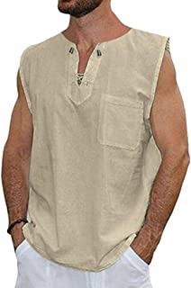 Men's Vest T-Shirt Casual Shirts Solid Colour V-Neck Sleeveless Loose Collarless Tank Tops