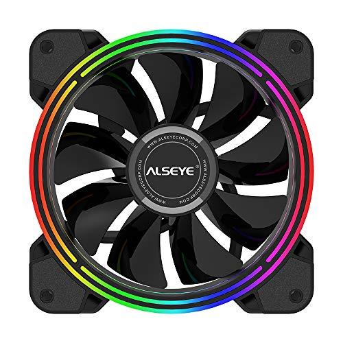 Ventilador de carcasa ALSEYE de 120 mm, ventiladores RGB de 4 pines PWM de bajo ruido ventilador de PC de 2000 RPM de velocidad | LED estático | ventiladores LED DC 12 V para ventilador de computadora de repuesto