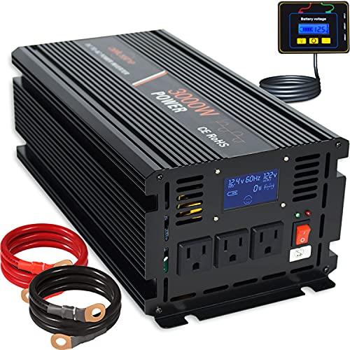 aeliussine 3000w Power Inverter 12v to 110v 120v Modified Sine Wave Power Inverter dc to ac Power Converter 3 ac Outlet (3000W 12V)