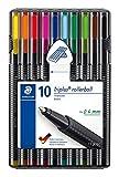Staedtler Triplus - Bolígrafo de punta rodante (caja con función atril, varios colores, 10 unidades)