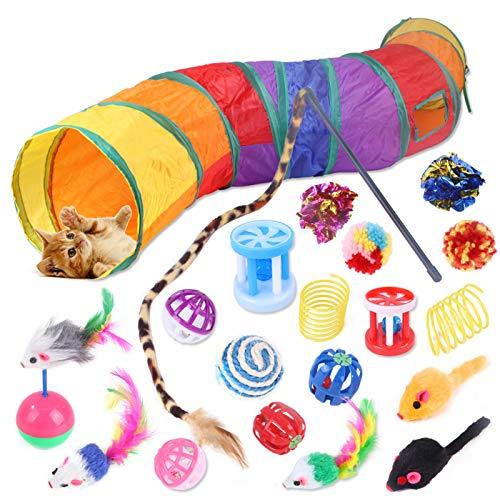 DingGreat Juego de 20 piezas de juguete para gatos con túnel para gatos, pelotas, diferentes colores, juguete de pluma, juguete de peluche, ratones de juguete, juego variado para gatos