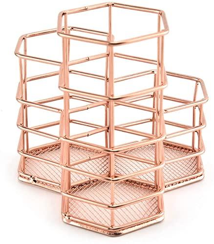 Portalápices de malla para bolígrafos, diseño de moda, perforado, de hierro y metal, color oro rosado, creativo, hexágono, organizador de oficina (B)