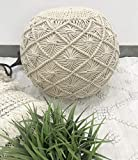 The Knitted Co. Cotton Pouf Handmade Macrame Ottoman - Farmhouse Rustic Accent Furniture - Footrest Round Bean Bag - for Living Room Bedroom Kids Room (Natural, 18