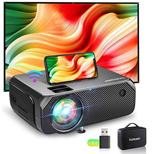 Bomaker Mini Beamer WiFi, 6000 Heimkino Beamer, 1080P Full HD Supported, 300