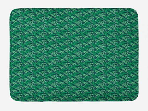 ABAKUHAUS Hawaiano Tapete para Baño, Las Hojas Tropicales de la Selva Tropical, Decorativo de Felpa Estampada con Dorso Antideslizante, 45 cm x 75 cm, Bosque Verde mar Verde