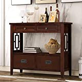 Modern Console Table, Wood Sofa Table with 4 Drawers and 1 Shelves, Sideboard Buffet Table, Narrow Accent Table Furniture for Entryway/Living Room/Bedroom/Hallway (Espresso)