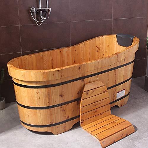 Hochwertige Massivholz Begasung Holzfass Badewanne,Sauna Barrel Wood Badewanne, Babywannen Bad,Spa Zur Linderung Von MüDigkeit, 3 Konfigurationen 100-150 cm / 39-59 Zoll,A-120cm