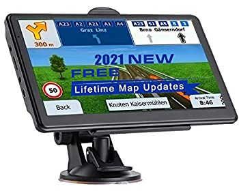 NAVRUF GPS Navigation for Car 7 Inch HD with High Resolution Touch Screen Real Voice Direction Vehicle GPS Navigator Lifetime Map Updates  Dark Gray