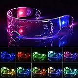 Navigatee Cyberpunk LED-Visierbrillen LED-Leuchtbrillen Futuristische elektronische Visierbrillen Leuchten Brillen Prop für Halloween Festival Performance
