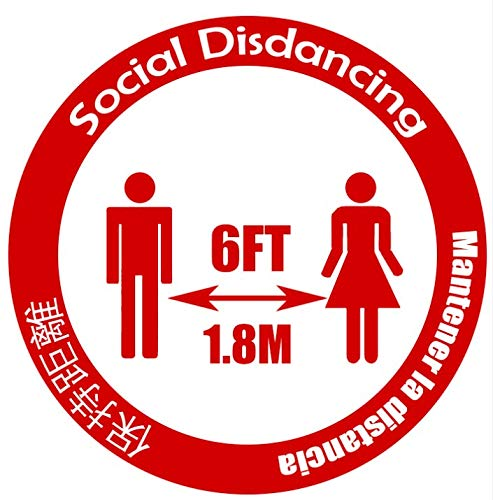LDS Industry 10 PCS Social distancing 7' Decal with 3 Language: English Spanish Chinese, Social distancing Floor Sign Safety Sign 18cm Circle Pressure Sensitive Adhesive