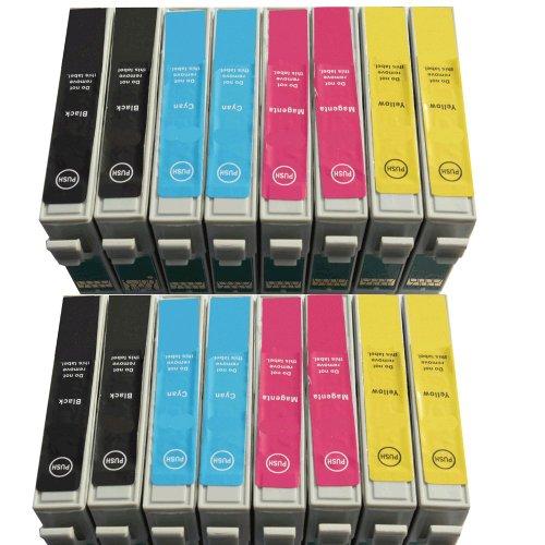 16x Epson kompatible Tintenpatronen (4Sets von 4insgesamt 16Patronen) für Epson Stylus Photo R240R245RX420RX425RX520(4x schwarz 4x Cyan 4x Magenta 4x Gelb) von Delcomcomputers und Wantmoreink