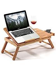 Bamboe Bedtafeltje, dienblad voor het eten van ontbijt, voor leesboek, films kijken op iPad, grote opvouwbare laptop notebook standaard bureau met in hoogte verstelbare poten, lade, bekerhouder