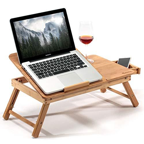 Bambus Laptoptisch | Klappbarer Notebooktisch aus Bambus | Laptoptisch mit Schublade | Höhe, Breite & Winkel Einstellbar | Laptop Notebook Tablet Tisch aus Holz – Frühstückstisch (55 x 35 x 29 cm)