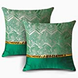 OTOSTAR Set of 2 Throw Pillow Covers for Bed Couch Sofa Car Decor Luxury Modern Minimalist Gold Leather Stitching Wavy Stripes Square Pillowcase Cushion Cover 18 X 18 Inches (Green)