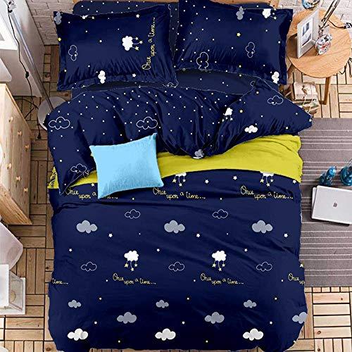 Ericcay Textile De Maison 4 Pièces Casual Chic Ensemble De Literie 1 Pièce Housse De Couette 2 Pièces Shams 1 Pièce Drap Plat Complet Queen King A Full (Color : K, Size : Full)