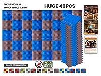 エースパンチ 新しい 40ピースセット 青とブルゴーニュ 500 x 500 x 50 mm ピラミッド 東京防音 ポリウレタン 吸音材 アコースティックフォーム AP1034