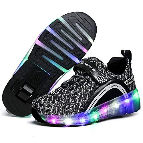 Qneic LED Light Up Roller Skates for Boys Girls Kids Roller Shoes for Child Wheel Shoes (3 Little Kid / EU34 ; Black)