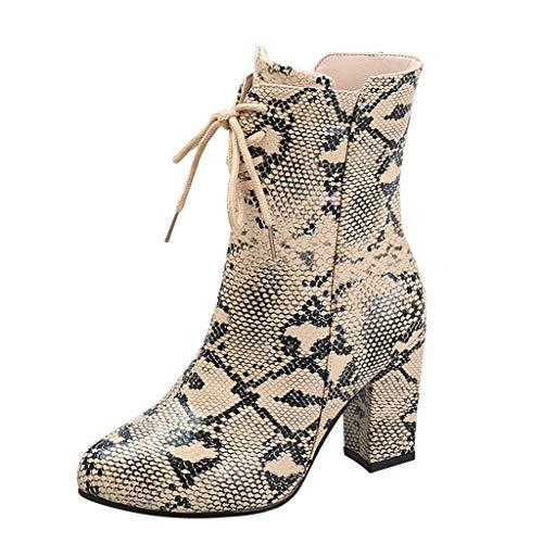 serliy😛Stiefel für Frauen, Snake Skin Stiefel Schnürstiefeletten mit dünnem Absatz und Spitze Zehen zum Anziehen