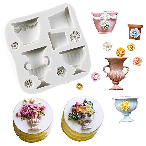 9-Cavity Flower Pots Urns Silicone Fondant Mold Flower Vase Gum Paste Mold for Sugar Paste Wedding Party Cupcake Cake Decorating Topper Decoration Sugarcraft Icing Tool