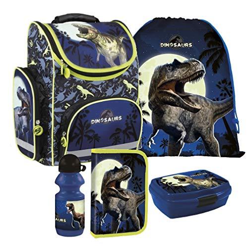 Dinosaurier Dino T-Rex 5 Teile Schulranzen RANZEN FEDERMAPPE Set Tasche Tornister Inkl. Sticker v. Kids4shop