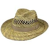 Lipodo Sombrero de Paja Classic Fedora Hombre - Made in Italy Verano Sol con Banda Grosgrain Primavera/Verano - L (58-59 cm) Natural