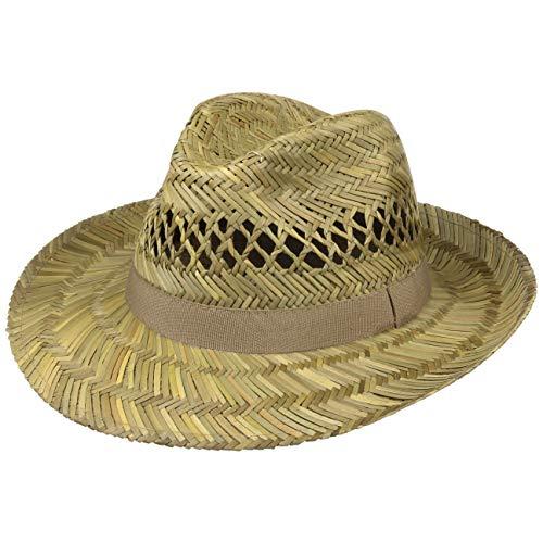 Lipodo Sombrero de Paja Classic Fedora Hombre - Made in Italy Verano Sol con Banda Grosgrain Primavera/Verano