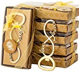 24 Pcs Love Forever Bottle Openers for Wedding Party Bridal Shower Favors Decorations Gifts or Souvenirs for Guests with Individual Gift Package (24, gold)