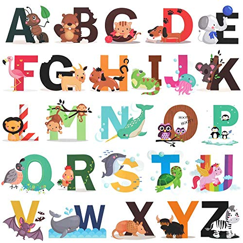 Alphabet Wall Decals, H2MTOOL Removable Animal ABC Wall Stickers for Kids Nursery Room Decor (Alphabet)