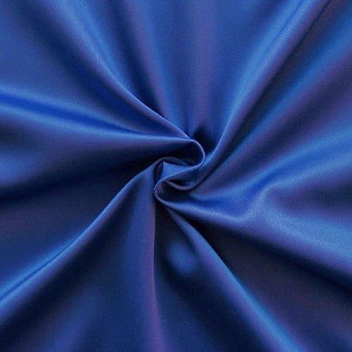 STOFFKONTOR Stretch Satin Modestoff Kleiderstoff - Stoff glänzend - Meterware, Royal-Blau