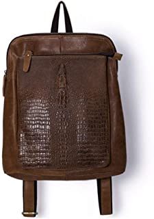 WENQU Travel Backpack Fashion, Cursory Backpack, Real Cow Entire Grain Leather Backpack (Color : Brown, Size : S)