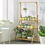 (US Fast Shipment)3 Tier Bamboo Hanging Rattan Plant Stand Hanger Planter Shelves Flower Pot Tiered Organizer Storage Rack for Patio Garden Balcony Indoor Outdoor (Wood Color)