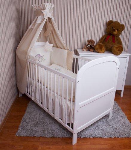 Amilian® Baby Bettwäsche Himmel Nestchen Bettset MIT STICKEREI 100x135cm Neu für Babybett Elefant ecru Vollstoffhimmel