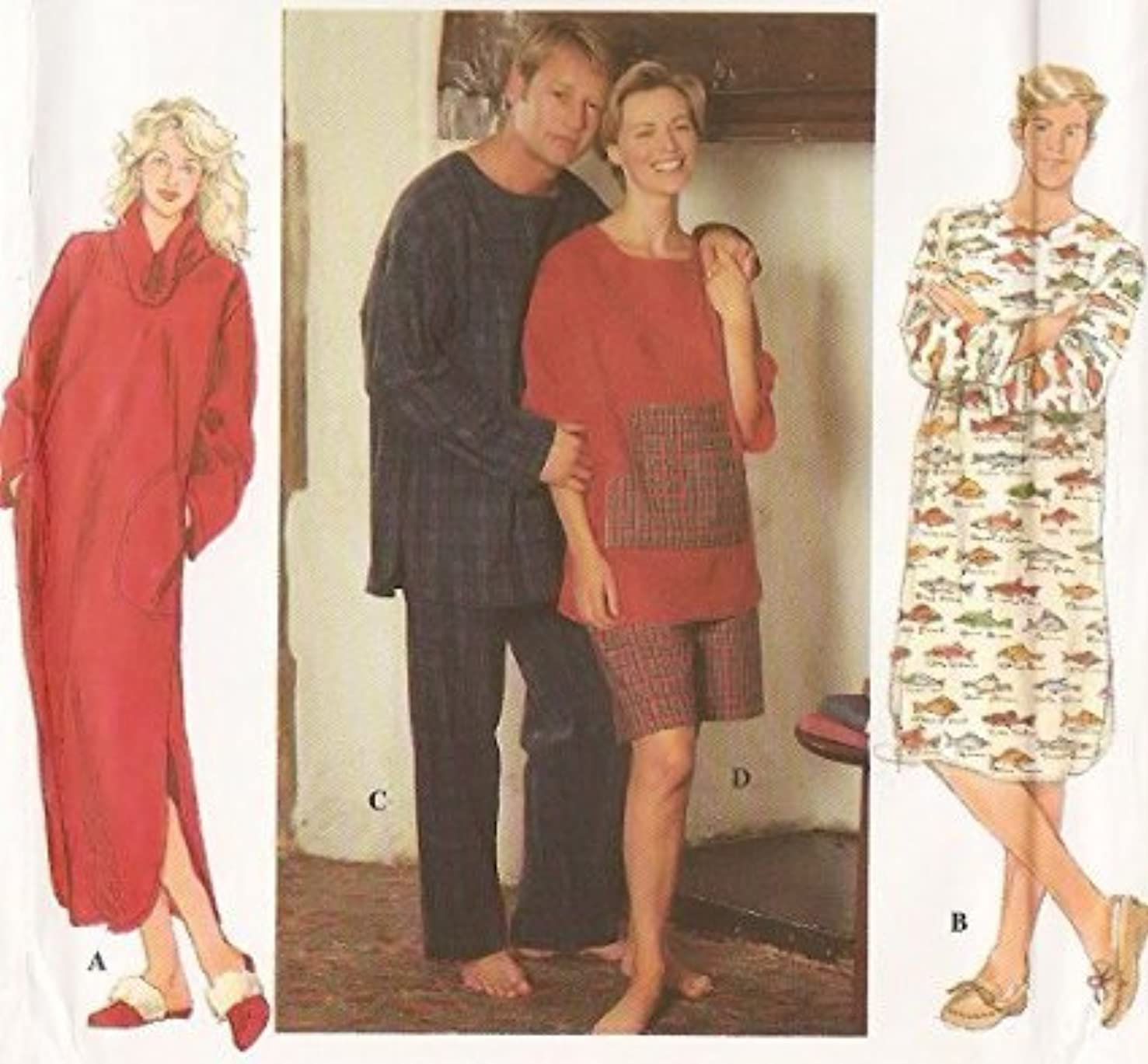 Simplicity 9858 Nightshirt And Pajamas - Unisex Sewing Pattern - Size BB (L, XL)