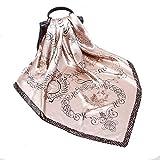 Schal Satin-Quadrat-Schals der Frauen druckt Wickel-Kopftuch 90cm fr Geschenke der Mutter Tages, Mode-Accessoires (Farbe : Beige, Gre : 90 * 90cm)