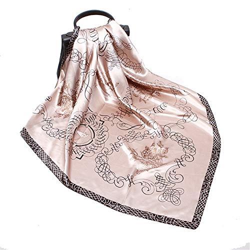 WUZHOUAME Bufanda Caliente Las Bufandas cuadradas del satén de Las Mujeres Imprimen Envuelve el pañuelo 90cm para los Regalos del día de Madre (Color : Beige, Size : 90 * 90cm)