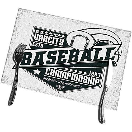 Beryl Shop Tischsets für Esstisch 6er-Set Vintage Grange Stamp Baseball Emblem Sport Logo Kreativ Waschbar Leicht zu reinig Tischset
